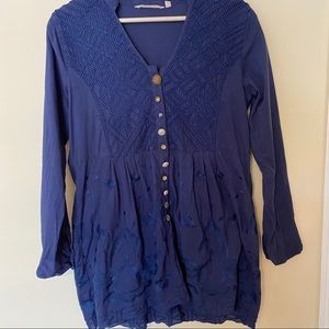 Soft Surroundings Embroidered Mixed Button Tunic